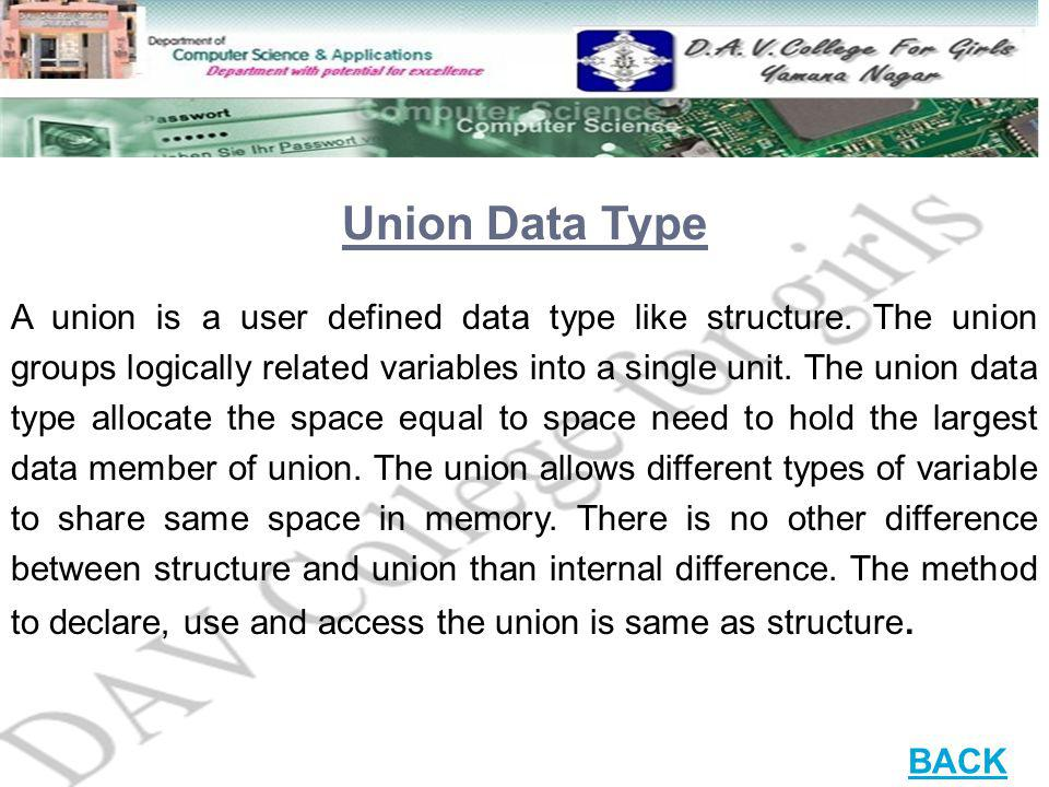Union Data Type A union is a user defined data type like structure. The union groups logically related variables into a single unit. The union data ty