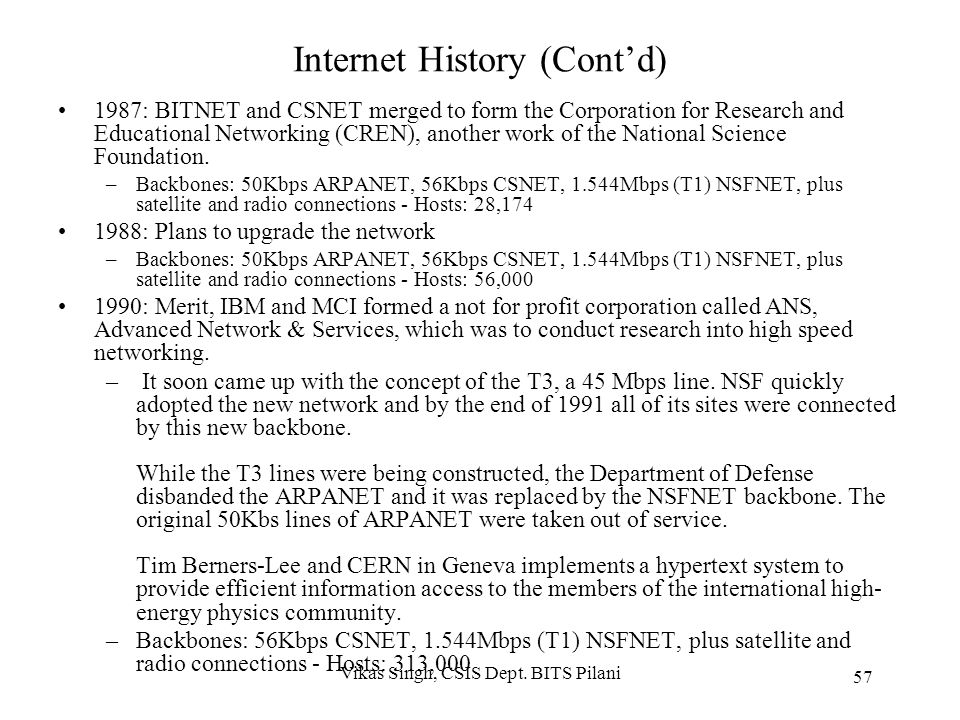 Internet History (Cont'd) 1983: Internet Activities Board (IAB) was created in 1983. On January 1st, every machine connected to ARPANET had to use TCP