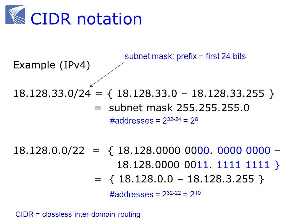 CIDR notation Example (IPv4) 18.128.33.0/24 = { 18.128.33.0 – 18.128.33.255 } = subnet mask 255.255.255.0 18.128.0.0/22 = { 18.128.0000 0000.