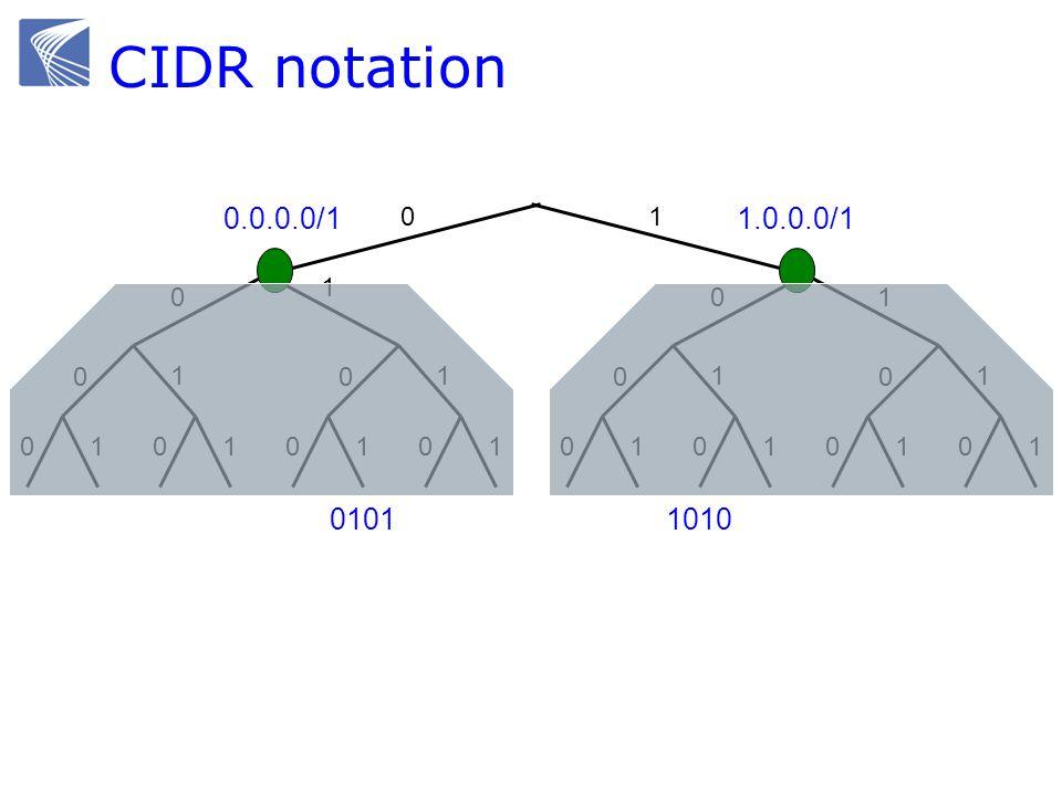 CIDR notation 0101 1 0 01 0 1 0101 0 1 01 0 01 0 1 0101 0 1 01 0 1 1 1010 0.0.0.0/11.0.0.0/1