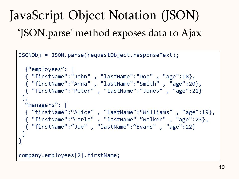 "JSONObj = JSON.parse(requestObject.responseText); {""employees"": [ {"