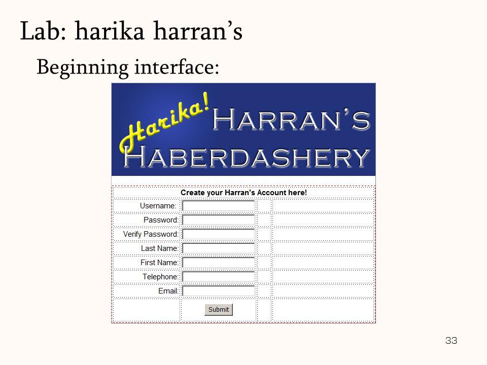 33 Beginning interface: Lab: harika harran's