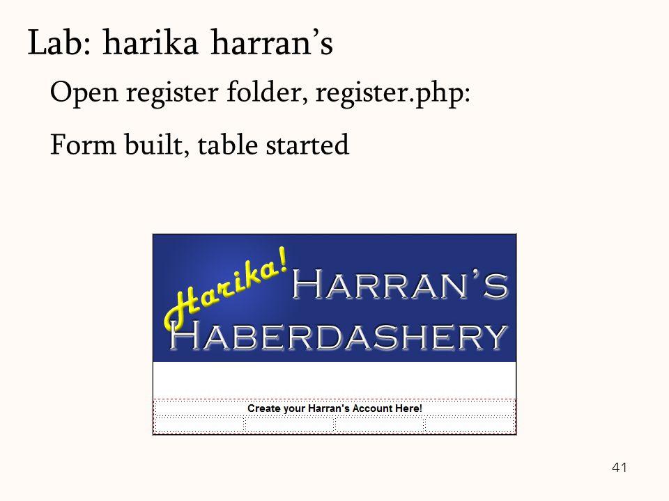 41 Open register folder, register.php: Form built, table started Lab: harika harran's