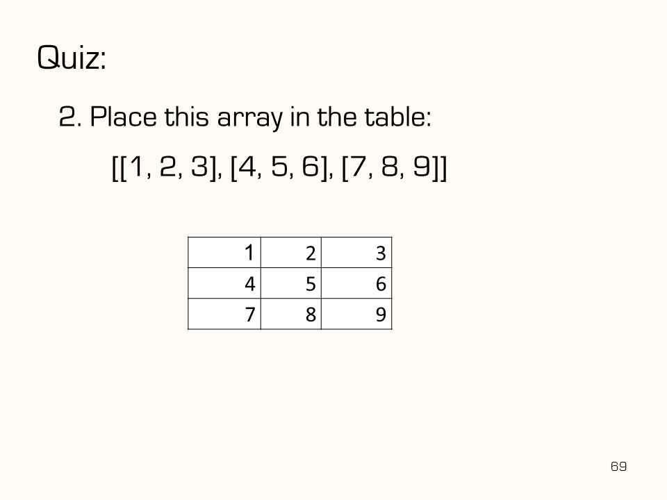 Quiz: 2. Place this array in the table: 69 1 23 456 789 [[1, 2, 3], [4, 5, 6], [7, 8, 9]]