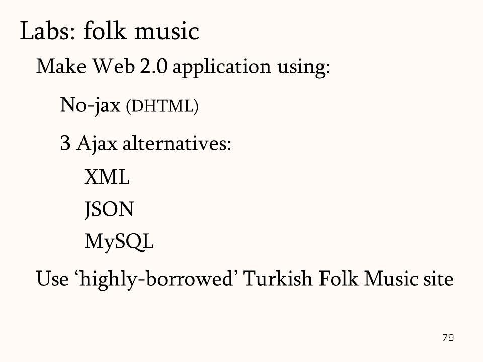 79 Make Web 2.0 application using: No-jax (DHTML) 3 Ajax alternatives: XML JSON MySQL Use 'highly-borrowed' Turkish Folk Music site Labs: folk music