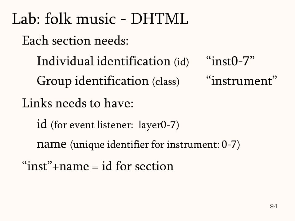 94 Each section needs: Individual identification (id) Group identification (class) Links needs to have: id (for event listener: layer0-7) name (unique