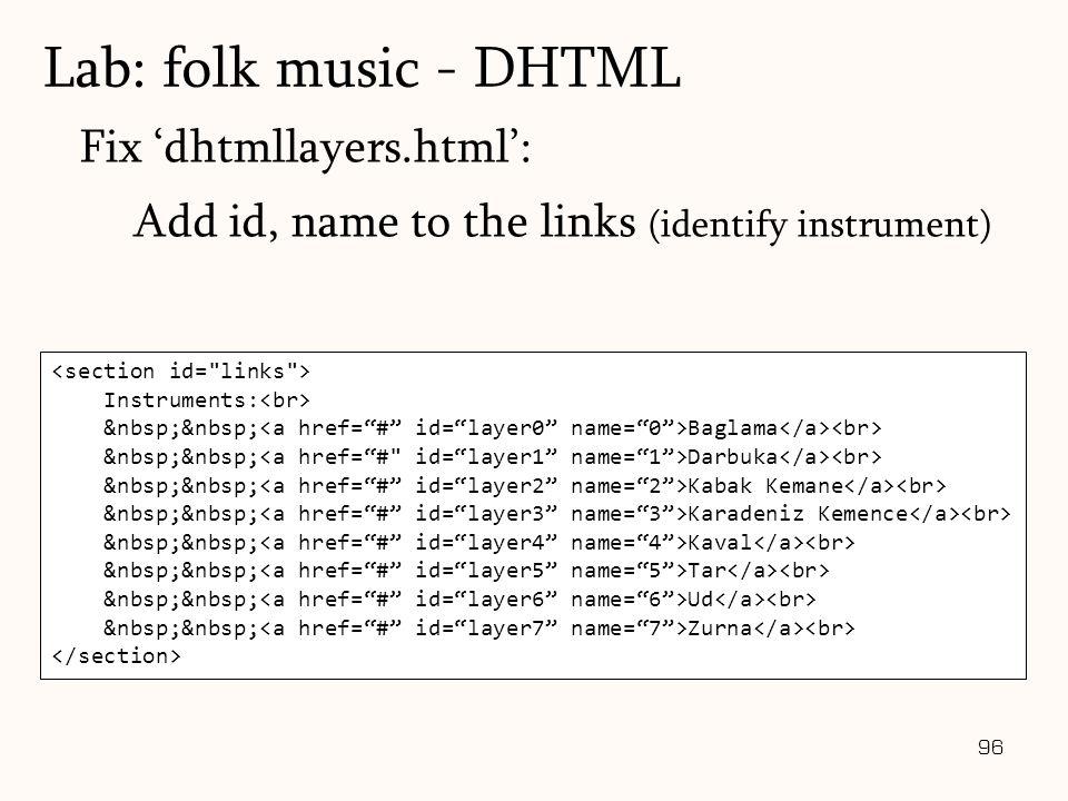 96 Fix 'dhtmllayers.html': Add id, name to the links (identify instrument) Lab: folk music - DHTML Instruments: Baglama Darbuka Kabak Kemane Karadeniz Kemence Kaval Tar Ud Zurna
