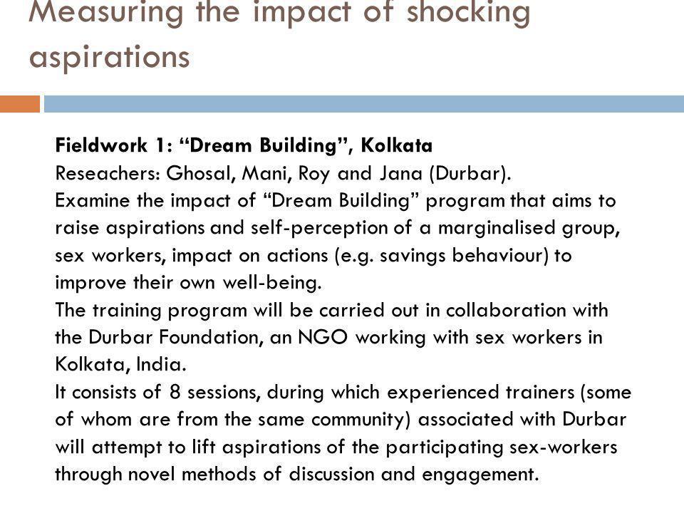 Measuring the impact of shocking aspirations Fieldwork 1: Dream Building , Kolkata Reseachers: Ghosal, Mani, Roy and Jana (Durbar).