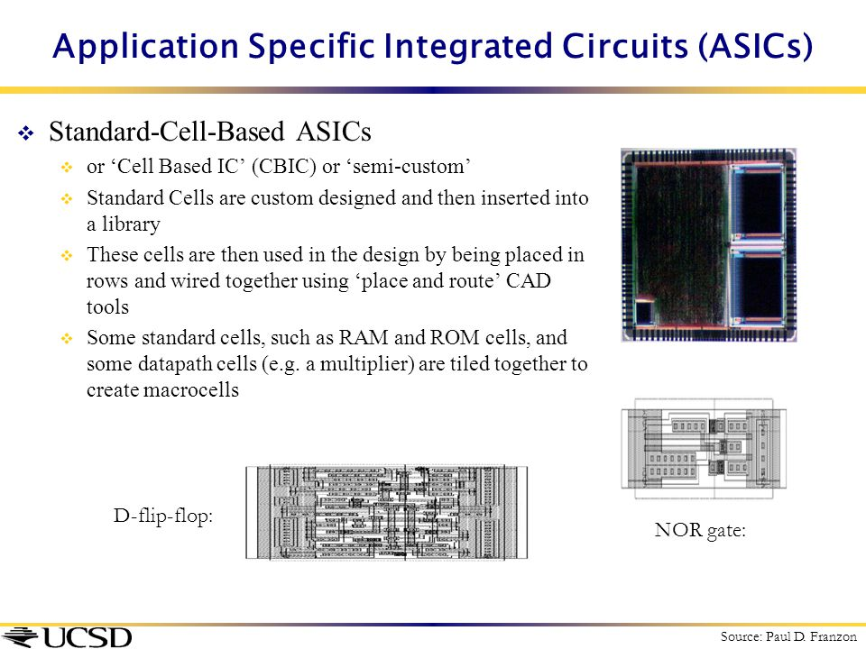  Standard-Cell-Based ASICs  or 'Cell Based IC' (CBIC) or 'semi-custom'  Standard Cells are custom designed and then inserted into a library  These