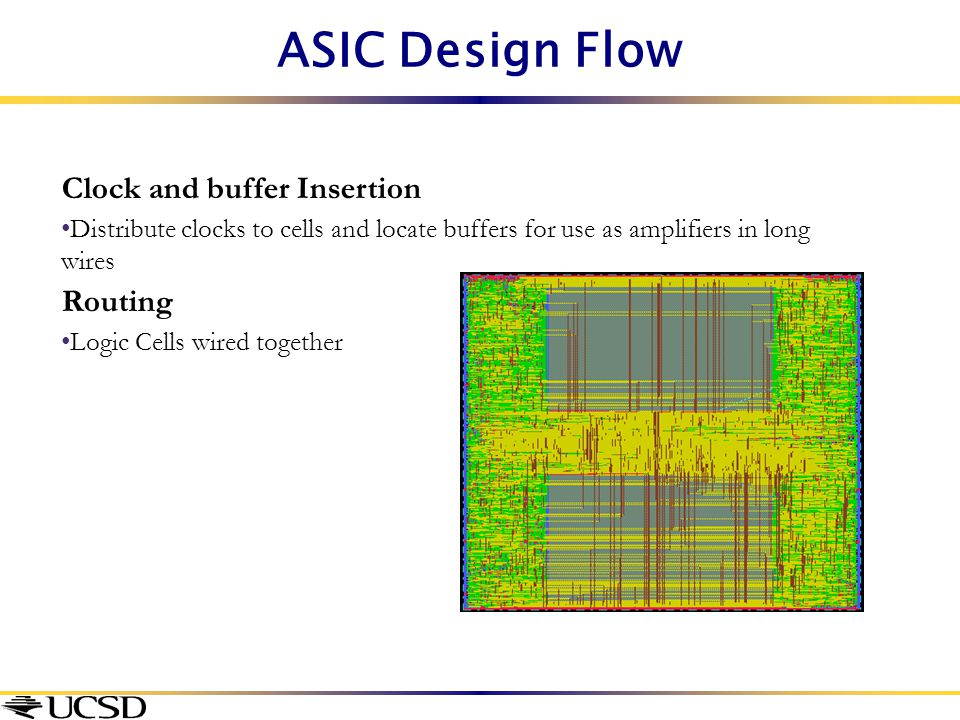 ASIC Design Flow Clock and buffer Insertion Distribute clocks to cells and locate buffers for use as amplifiers in long wires Routing Logic Cells wire