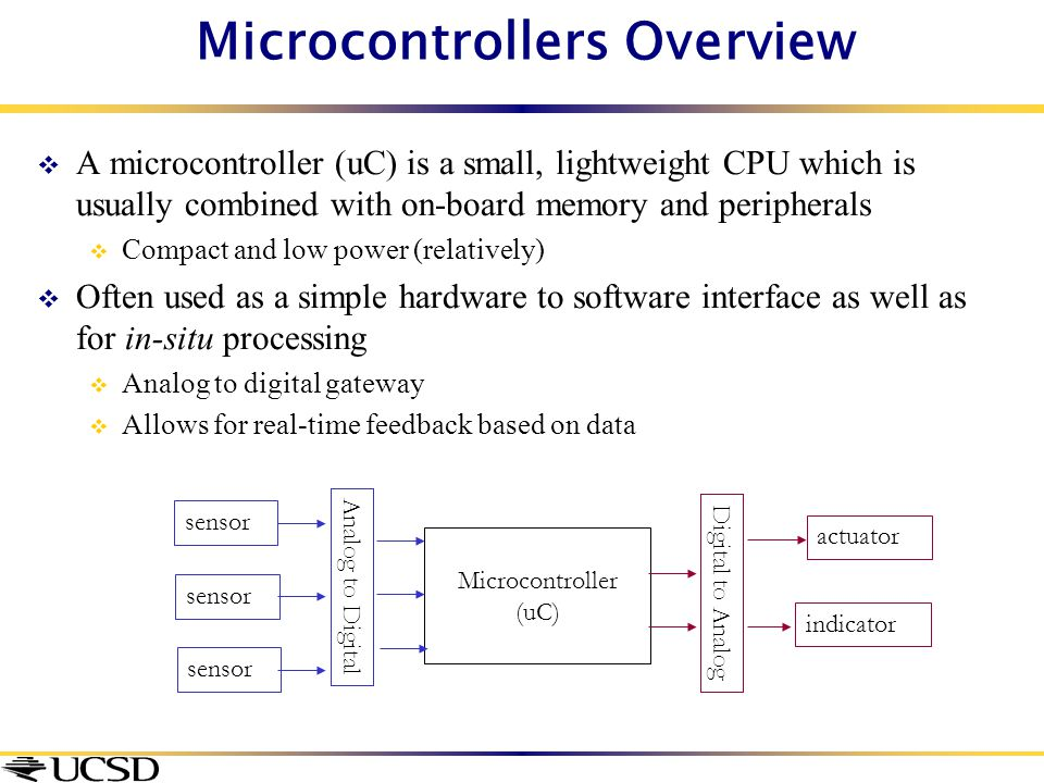Microcontrollers Overview  A microcontroller (uC) is a small, lightweight CPU which is usually combined with on-board memory and peripherals  Compac