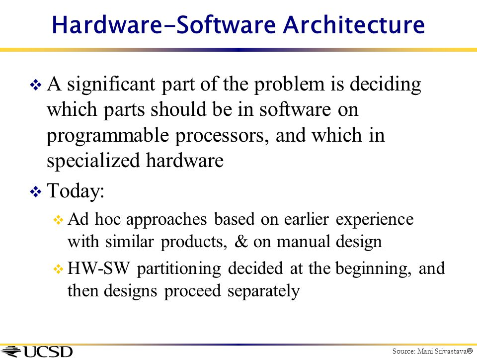 Hardware-Software Architecture  A significant part of the problem is deciding which parts should be in software on programmable processors, and which