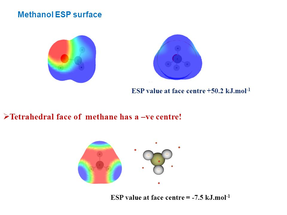 ESP value at face centre +50.2 kJ.mol -1  Tetrahedral face of methane has a –ve centre.