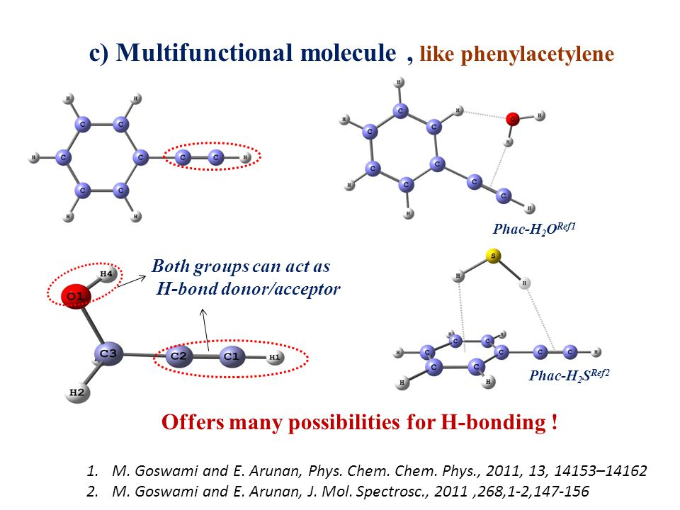 Both groups can act as H-bond donor/acceptor c) Multifunctional molecule, like phenylacetylene Offers many possibilities for H-bonding .