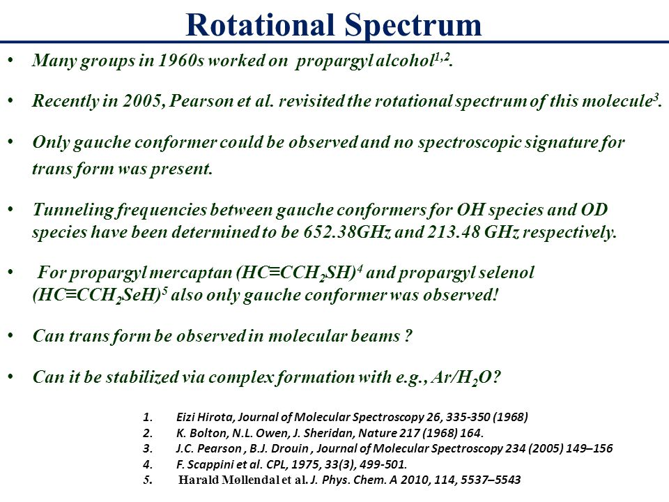 Rotational Spectrum Many groups in 1960s worked on propargyl alcohol 1,2.