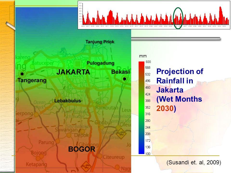 Projection of Rainfall in Jakarta (Wet Months 2030) 600 mm (Susandi et. al, 2009)