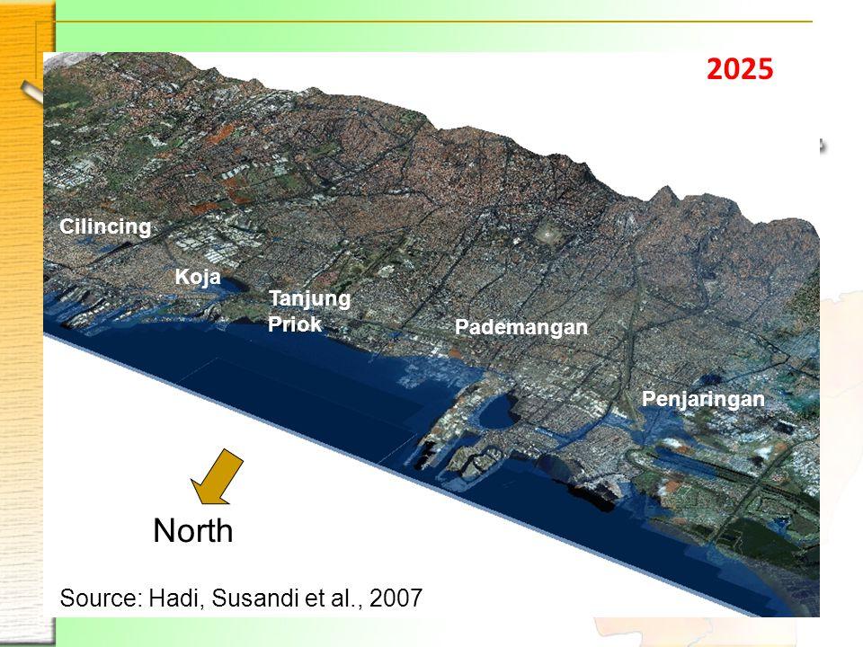 2025 Penjaringan Pademangan Tanjung Priok Koja Cilincing North Source: Hadi, Susandi et al., 2007