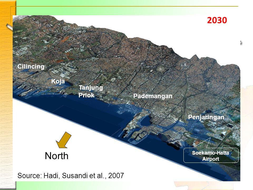 2030 Penjaringan Pademangan Tanjung Priok Koja Cilincing Soekarno-Hatta Airport North Source: Hadi, Susandi et al., 2007