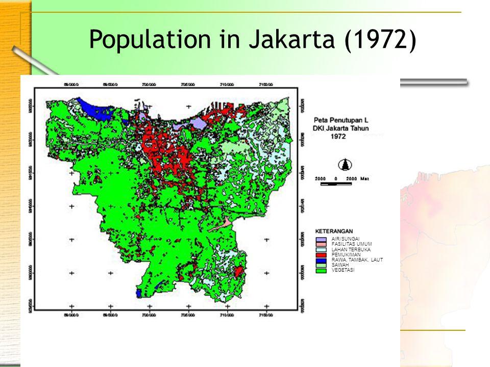 Population in Jakarta (1972) AIR/SUNGAI FASILITAS UMUM LAHAN TERBUKA PEMUKIMAN RAWA, TAMBAK, LAUT SAWAH VEGETASI