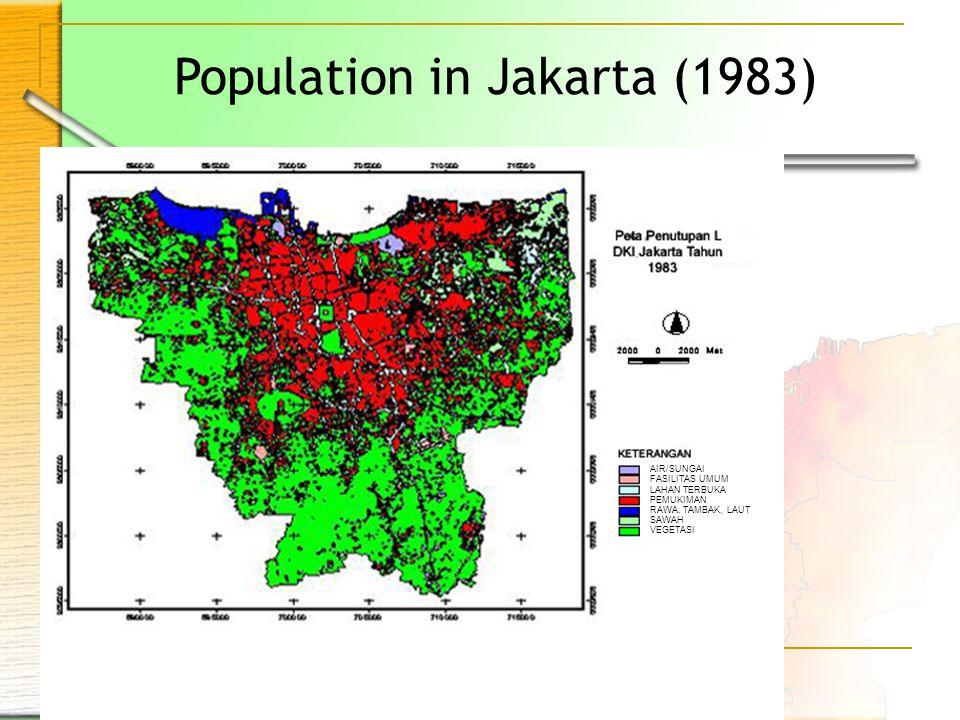 Population in Jakarta (1983) AIR/SUNGAI FASILITAS UMUM LAHAN TERBUKA PEMUKIMAN RAWA, TAMBAK, LAUT SAWAH VEGETASI