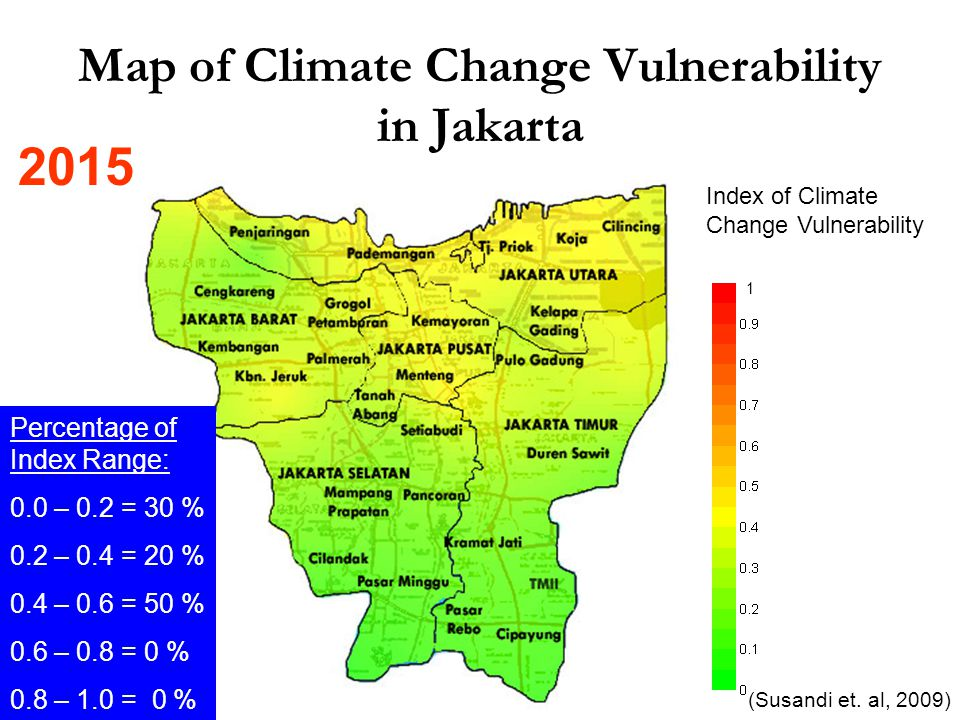 Index of Climate Change Vulnerability Map of Climate Change Vulnerability in Jakarta 2015 (Susandi et.