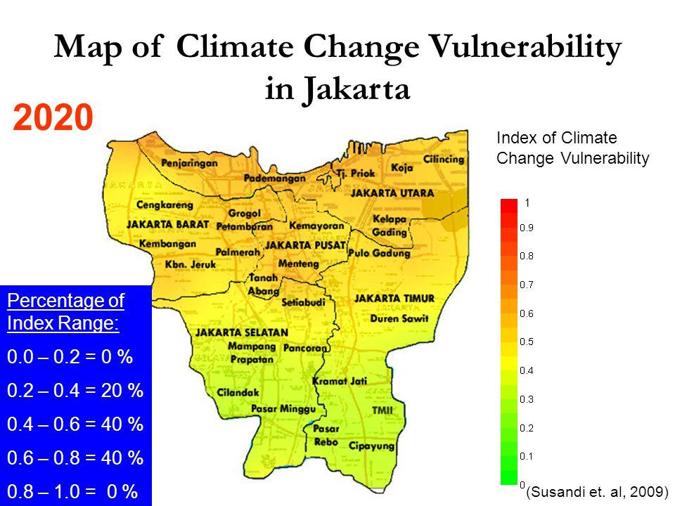 Map of Climate Change Vulnerability in Jakarta Index of Climate Change Vulnerability 1 Percentage of Index Range: 0.0 – 0.2 = 0 % 0.2 – 0.4 = 20 % 0.4 – 0.6 = 40 % 0.6 – 0.8 = 40 % 0.8 – 1.0 = 0 % (Susandi et.