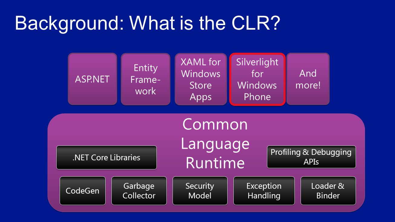 .NET Core Libraries Common Language Runtime CodeGen Garbage Collector Security Model Exception Handling Loader & Binder Profiling & Debugging APIs Entity Frame- work And more.