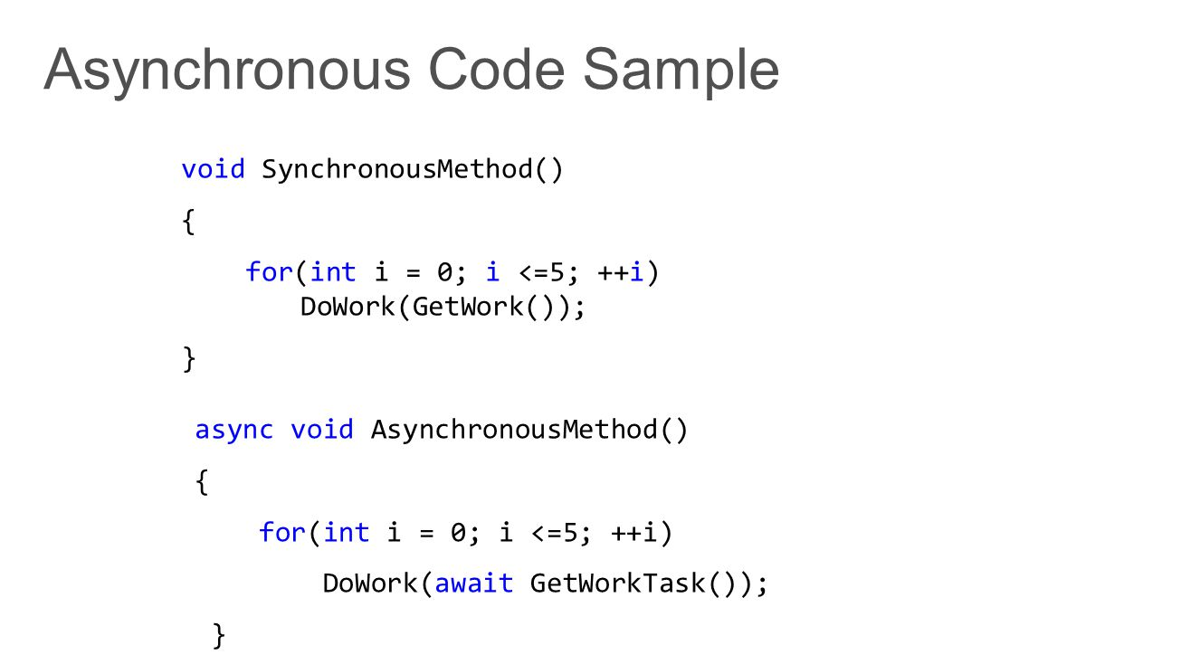void SynchronousMethod() { for(int i = 0; i <=5; ++i) DoWork(GetWork()); } async void AsynchronousMethod() { for(int i = 0; i <=5; ++i) DoWork(await G
