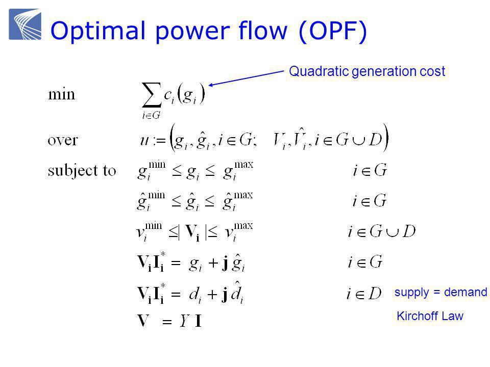Optimal power flow (OPF) Quadratic generation cost Kirchoff Law supply = demand