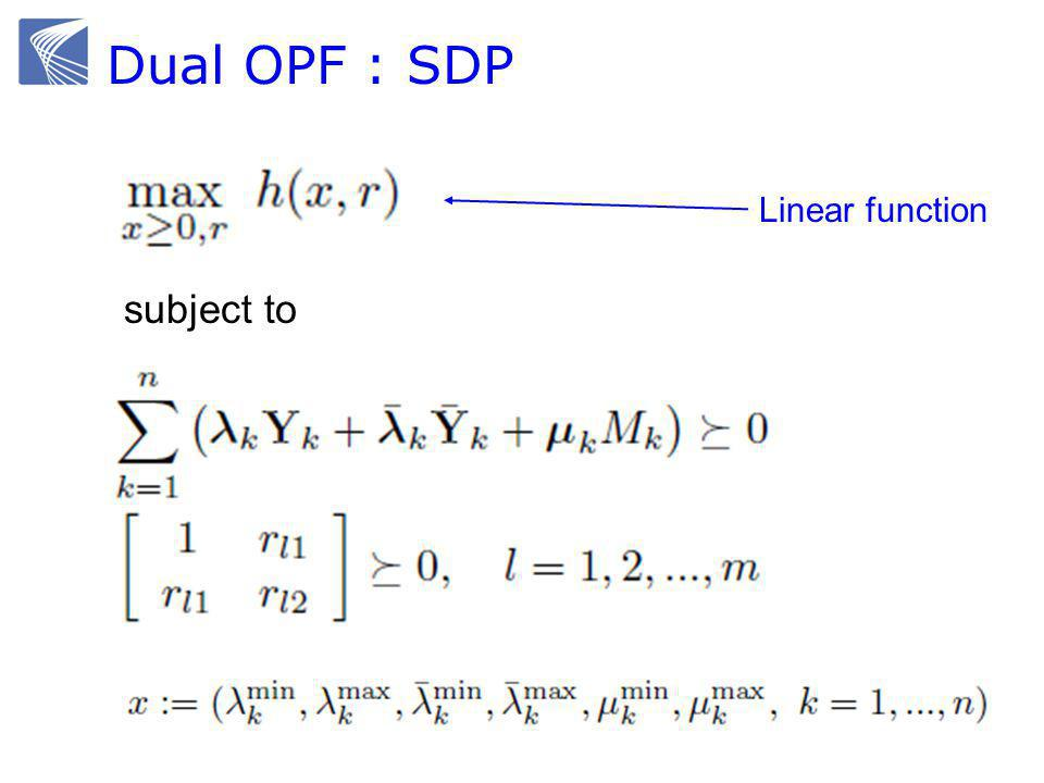 Dual OPF : SDP subject to Linear function