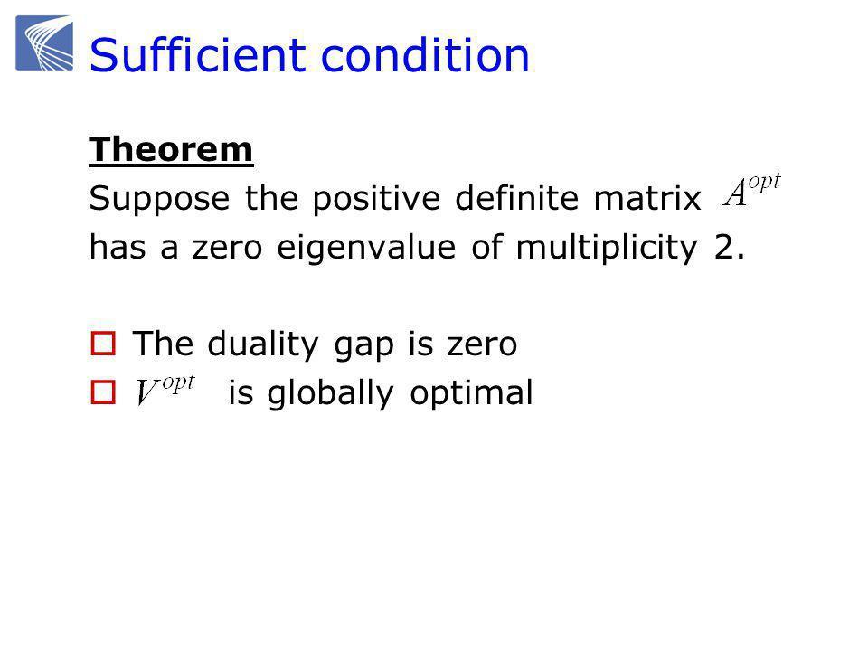 Sufficient condition Theorem Suppose the positive definite matrix has a zero eigenvalue of multiplicity 2.