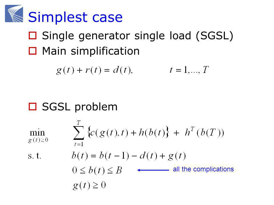 Simplest case  Single generator single load (SGSL)  Main simplification all the complications  SGSL problem