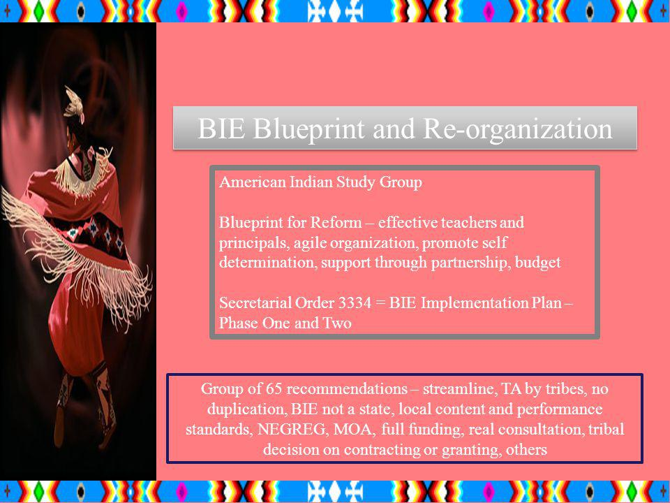 BIE Blueprint and Re-organization American Indian Study Group Blueprint for Reform – effective teachers and principals, agile organization, promote se