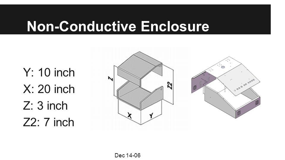 Non-Conductive Enclosure Y: 10 inch X: 20 inch Z: 3 inch Z2: 7 inch Dec 14-06