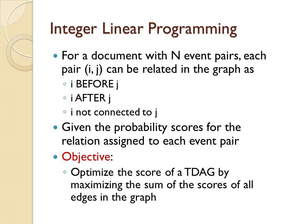 Integer Linear Programming For a document with N event pairs, each pair (i, j) can be related in the graph as ◦ i BEFORE j ◦ i AFTER j ◦ i not connected to j Given the probability scores for the relation assigned to each event pair Objective: ◦ Optimize the score of a TDAG by maximizing the sum of the scores of all edges in the graph