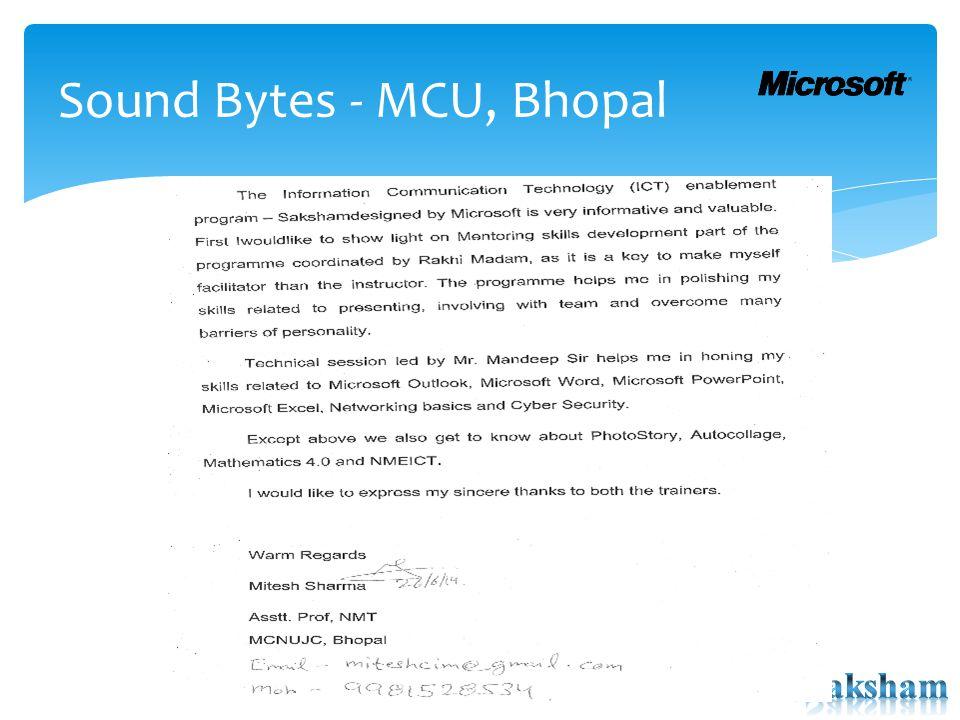 Sound Bytes - MCU, Bhopal