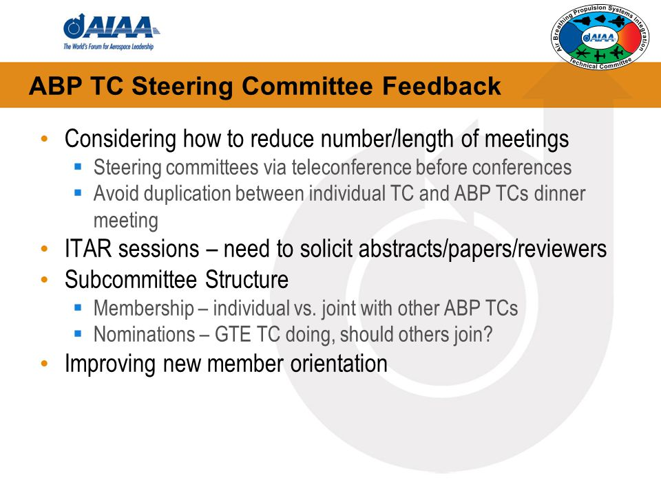 ABP TC Steering Committee Feedback Considering how to reduce number/length of meetings  Steering committees via teleconference before conferences  Avoid duplication between individual TC and ABP TCs dinner meeting ITAR sessions – need to solicit abstracts/papers/reviewers Subcommittee Structure  Membership – individual vs.