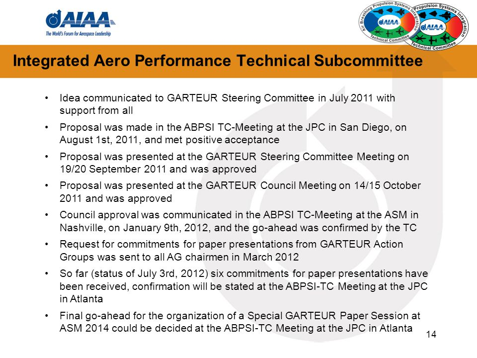 14 Integrated Aero Performance Technical Subcommittee Idea communicated to GARTEUR Steering Committee in July 2011 with support from all Proposal was