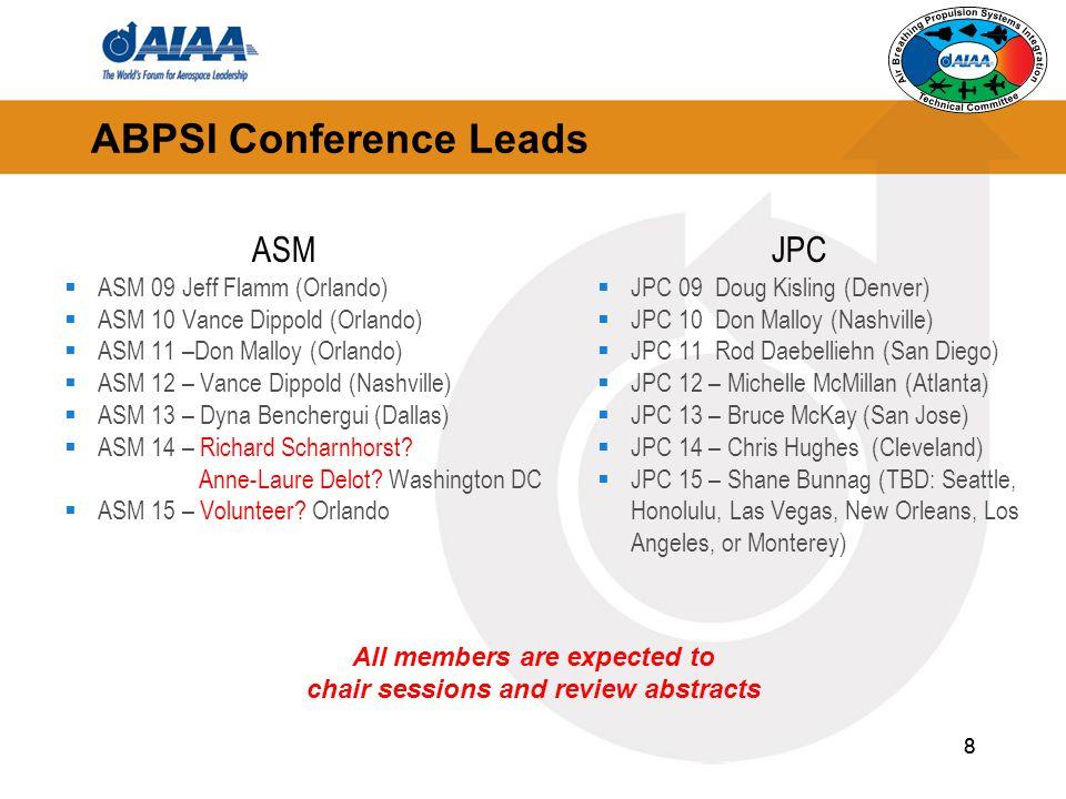 8 8 ABPSI Conference Leads ASM  ASM 09 Jeff Flamm (Orlando)  ASM 10 Vance Dippold (Orlando)  ASM 11 –Don Malloy (Orlando)  ASM 12 – Vance Dippold (Nashville)  ASM 13 – Dyna Benchergui (Dallas)  ASM 14 – Richard Scharnhorst.