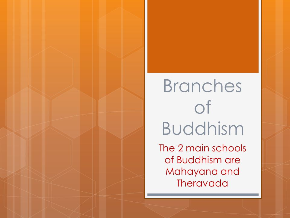 Branches of Buddhism The 2 main schools of Buddhism are Mahayana and Theravada