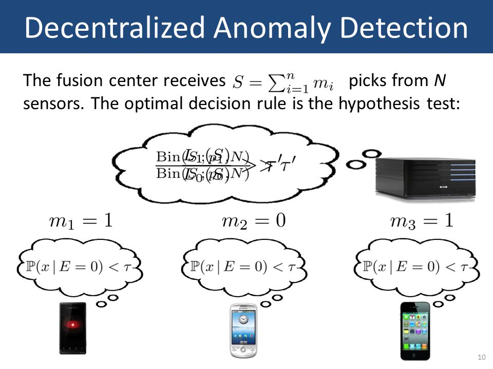 10 Decentralized Anomaly Detection The fusion center receives picks from N sensors. The optimal decision rule is the hypothesis test: