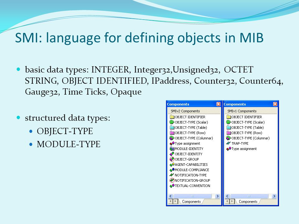basic data types: INTEGER, Integer32,Unsigned32, OCTET STRING, OBJECT IDENTIFIED, IPaddress, Counter32, Counter64, Gauge32, Time Ticks, Opaque structured data types: OBJECT-TYPE MODULE-TYPE SMI: language for defining objects in MIB