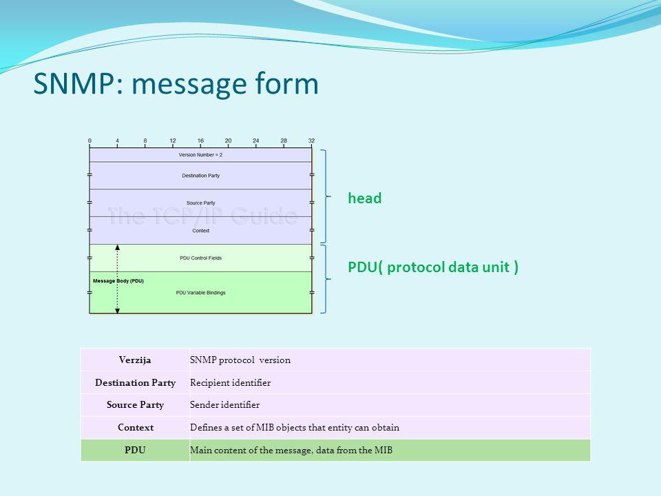 SNMP: message form VerzijaSNMP protocol version Destination PartyRecipient identifier Source PartySender identifier ContextDefines a set of MIB objects that entity can obtain PDUMain content of the message, data from the MIB PDU( protocol data unit ) head