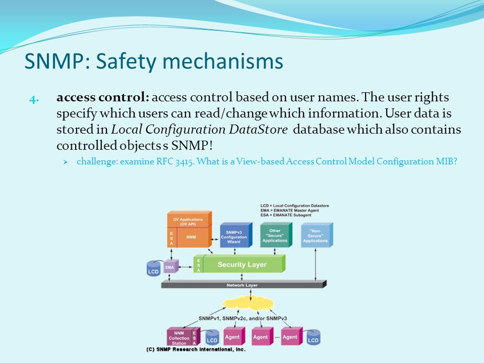 SNMP: Safety mechanisms 4. access control: access control based on user names.