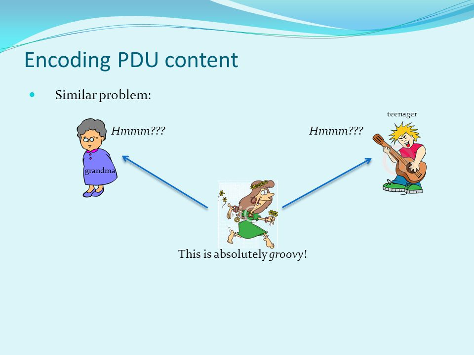 Encoding PDU content Similar problem: This is absolutely groovy! grandma teenager Hmmm
