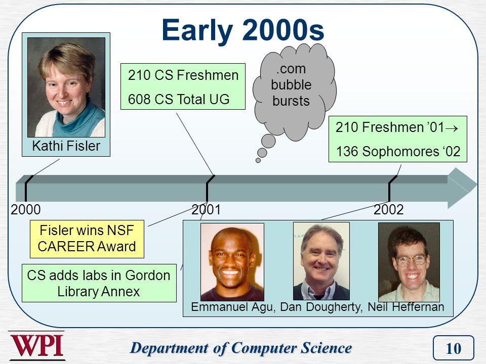 Department of Computer Science 10 CS adds labs in Gordon Library Annex Early 2000s 200020012002 Kathi Fisler 210 CS Freshmen 608 CS Total UG Emmanuel