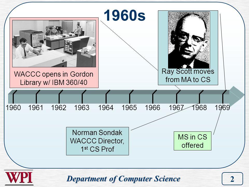 Department of Computer Science 2 1960s 1960196219611964196319651969196819671966 Norman Sondak WACCC Director, 1 st CS Prof WACCC opens in Gordon Libra