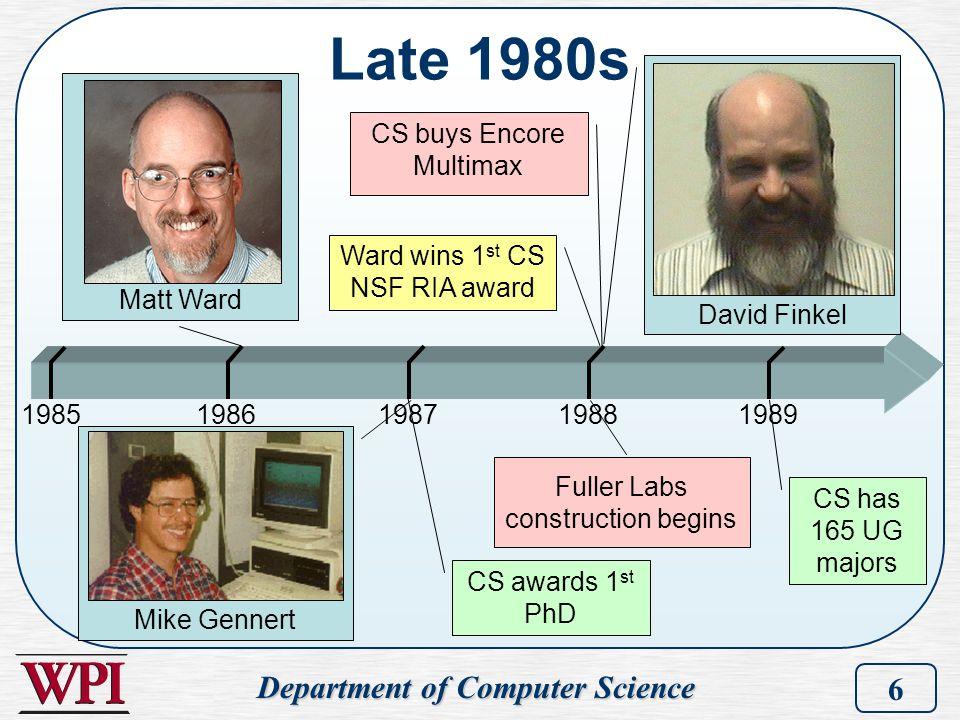 Department of Computer Science 6 Late 1980s 19851986198719891988 David Finkel Matt Ward Mike Gennert CS awards 1 st PhD CS buys Encore Multimax Ward w