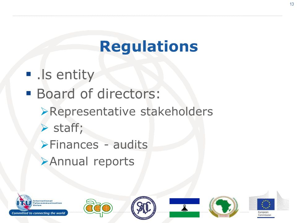 Regulations .ls entity  Board of directors:  Representative stakeholders  staff;  Finances - audits  Annual reports 13
