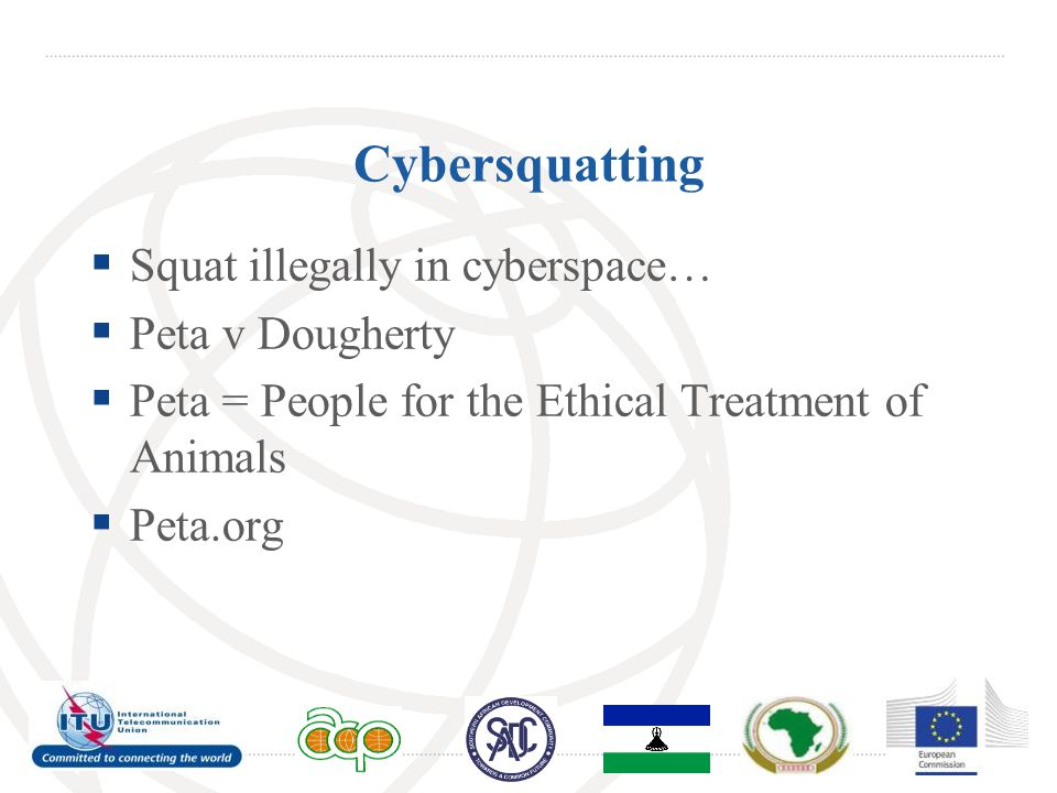 Cybersquatting  Squat illegally in cyberspace…  Peta v Dougherty  Peta = People for the Ethical Treatment of Animals  Peta.org